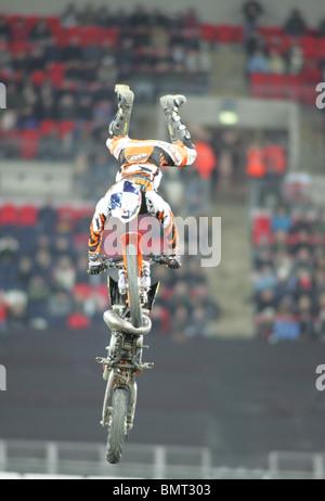 bike stunts at race of champions 2008 at wembley stadium - Stock Photo