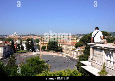 italy, rome, pincio hill, terrace overlooking piazza del popolo, viewpoint - Stock Photo