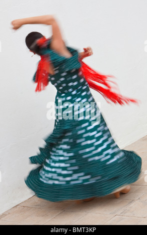 Motion blurred slow shutter speed shot of woman traditional Spanish Flamenco dancer spinning & dancing in green - Stock Photo