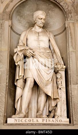 Florence - Niccola Pisano statue on the facade of Uffizi gallery by Pio Fedi. - Stock Photo