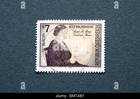 Paula Preradović, Croatian and Austrian writer and narrator, in an Austrian stamp. - Stock Photo