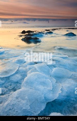 Icy landscape at Larkollen in Rygge kommune, Østfold fylke, Norway. - Stock Photo