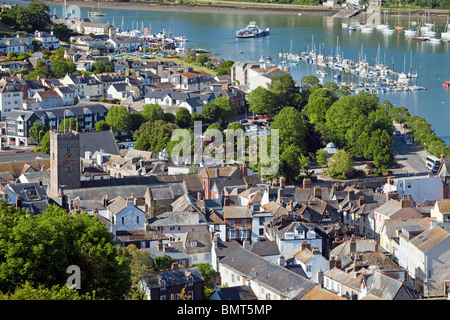 England Devon Dartmouth town centre showing buildings destroyed by fire in May 2010 - Stock Photo