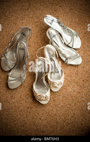 pair of Bride and bridesmaids shoes, wedding day, UK - Stock Photo