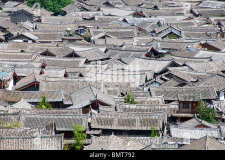 Top view of house roofs Lijiang Old Town Yunnan China - Stock Photo