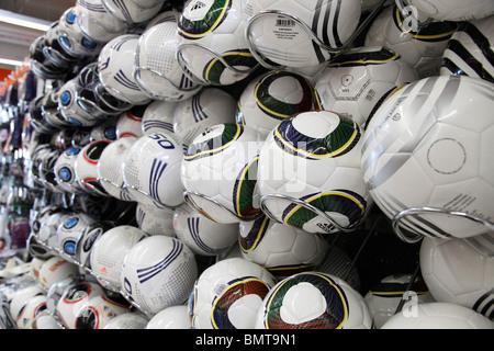 soccer balls in a sport store