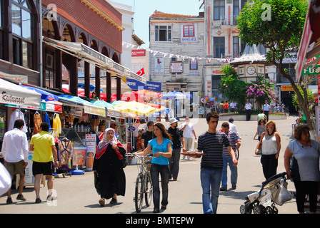 ISTANBUL, TURKEY. A street scene on the Princes' Island of Buyukada, a popular weekend getaway in the Sea of Marmara. - Stock Photo