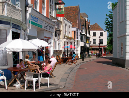 Cafe Culture beside The Guildhall in Historic Faversham, Kent, England - Stock Photo