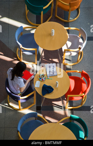 An interior view of the sunny cafe of the Tokyo Metropolitan Museum of Photography at Yebisu Garden Place, located - Stock Photo