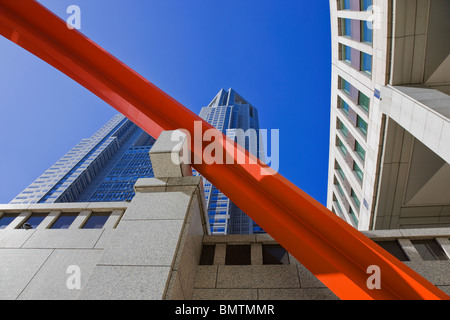 A modern sculpture decorates the Tokyo Metropolitan Government Center, Tokyo's City Hall, located in the western - Stock Photo