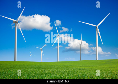 WIND TURBINE IN A FIELD - Stock Photo