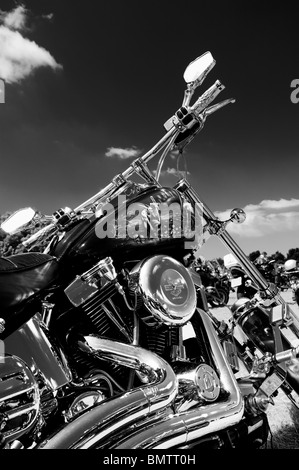 Custom Harley Davidson motorcycle at a bike show in England. Monochrome - Stock Photo