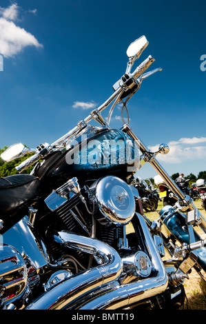 Custom Harley Davidson motorcycle at a bike show in England - Stock Photo