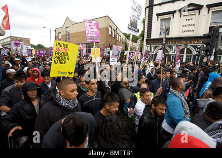 Anti fascist protest march through east London, England, UK. - Stock Photo
