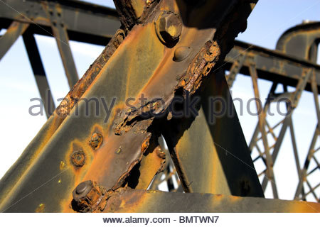 Rust and corrosion on the Barmouth Bridge (railway crossing of the Mawddach estuary). Wales, UK. - Stock Photo