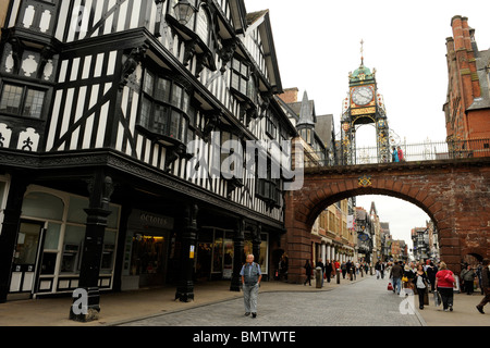 The clock on Eastgate in Chester, Cheshire to mark Queen Victoria's Diamond Jubilee - Stock Photo