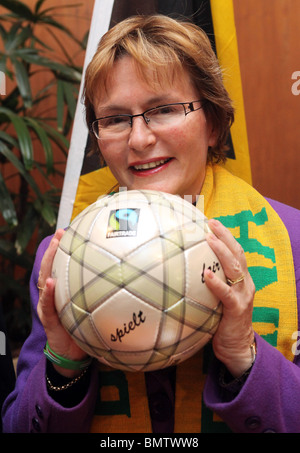 Western Cape Premier HELEN ZILLE holding soccer ball - Stock Photo
