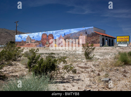 The Campells mural on of many in 29 Palms CA USA - Stock Photo