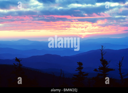 Sunrise as viewed from Clingman's Dome in the Great Smoky Mountains National Park - Stock Photo