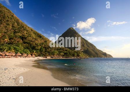 Caribbean, St Lucia, Gros Piton, (UNESCO World Heritage Site) and Anse des Pitons Beach (Anse Jalousie) - Stock Photo