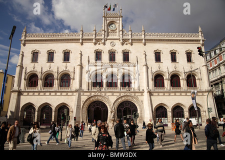 facade of the Train Station Rossio in Lisbon, Portugal, Europe - Stock Photo
