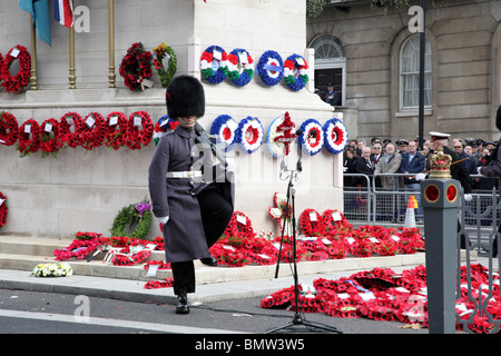 Soldier at the Cenotaph Armistice Day Memorial Service in Whitehall, London SW1. - Stock Photo