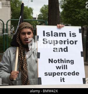 Pro Sharia Law Demonstration outside Downing Street, London, UK, 20 June 2010 - Stock Photo