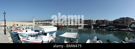 Panoramic view of the Venetian Harbour in Rethymnon, Crete. - Stock Photo