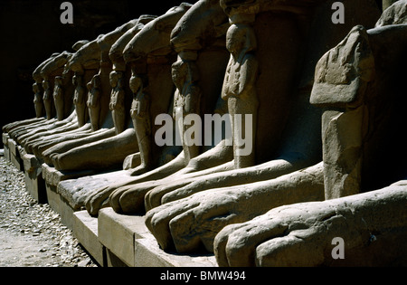 Ram-headed Sphinxes at Karnak temple in Luxor. - Stock Photo