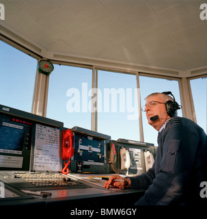 Air traffic control tower RAF personnel watching air display Stock ...