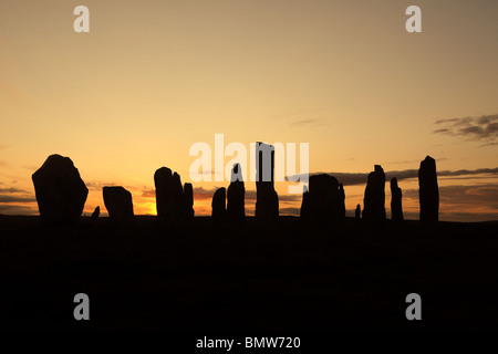Silhouette of Callanish standing stones, Isle of Lewis, Outer Hebrides, Scotland - Stock Photo
