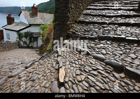 The steep cobbled street at Clovelly, Devon, England. - Stock Photo