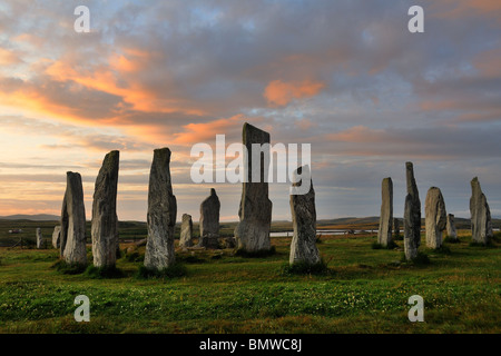 The standing stones at Callanish at dawn, Isle of Lewis, Scotland - Stock Photo