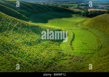 A High Dynamic Range (HDR) image looking into 'The Manger', on White Horse Hill, Uffington,Oxfordshire, UK. - Stock Photo