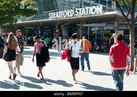 Commuters outside Stratford train station nearest station to the site of 2012 Olympics, Stratford, East London England - Stock Photo