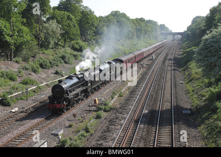 Class 5 and King Arthur 460 steam locomotives at Twyford 22 May 2010 - Stock Photo