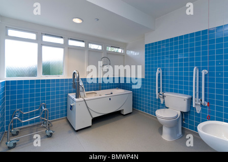 Disabled and infirm bathroom in a nursing / care home - Stock Photo