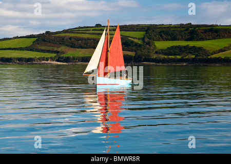 Oyster Fisherman Dredging for Oysters in the River Fal ,South West, Cornwall, England, UK - Stock Photo
