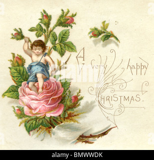 Christmas Card - Pink Roses - Stock Photo