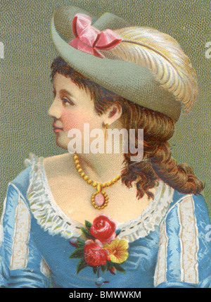 Side Portrait of a Lady in Blue Dress and Feather Hat - Stock Photo