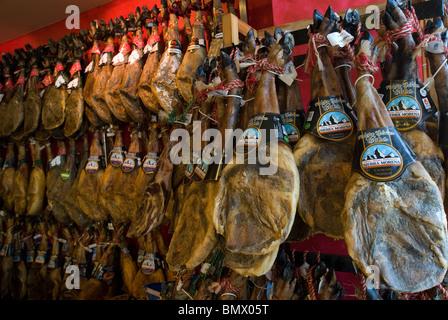 Cured Hams for sale, Mahon, Menorca, Balearics, Spain - Stock Photo