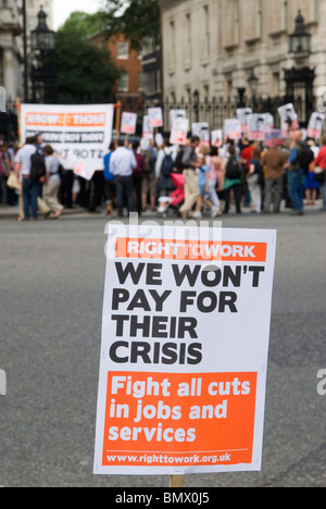 George Osborne first Budget Day. Coalition Government Demonstration outside Downing Street London UK - Stock Photo