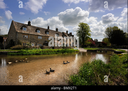 The Cotswold village of Lower Slaughter, Gloucestershire UK - Stock Photo