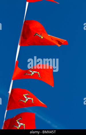 Detail of small flags in Isle of Man - Stock Photo