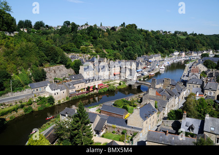 Looking down into lower Dinan and the River Rance from the Viaduc de Dinan - Stock Photo