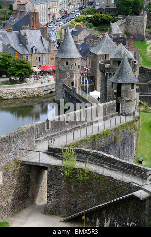 Looking down onto the Medieval ramparts of Fougeres Castle in Brittany France - Stock Photo