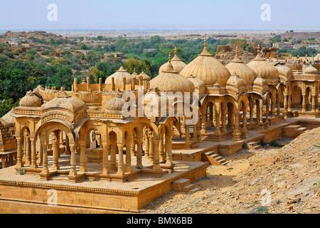 The Royal Cenotaphs near Jaisalmer, Rajasthan, India - Stock Photo