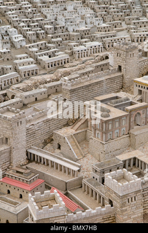 Scale model of Jerusalem as it was prior to its destruction by the Romans in 66 CE placed at the campus of Israel - Stock Photo