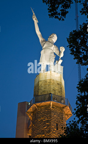Night view of the Vulcan Statue at Vulcan Park & Museum, Birmingham, Alabama, USA - Stock Photo