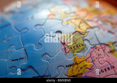 Detail of a Globe/Map. Jigsaw detail. Spain - Stock Photo